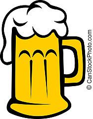 cervezadorada, pichel, cerveza, o, espumoso
