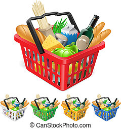 cesta, compras, foods.