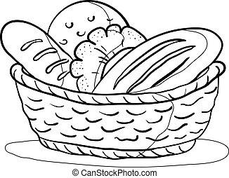 cesta, contorno, bread