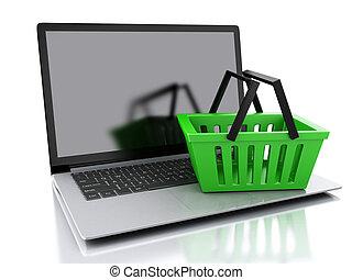 Cesta de compras 3D. El concepto de compra online