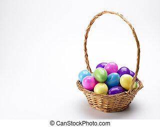 cesta, huevos, pascua, colorido