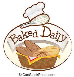 cesta, panes, cocido al horno, diario, etiqueta