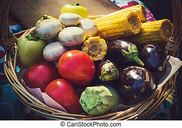 cesta, vegetales, mimbre