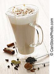 chai, bebida, latte