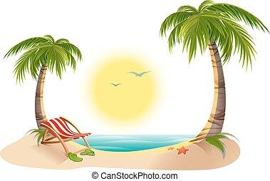 Chaise Longue de playa bajo la palma de la mano