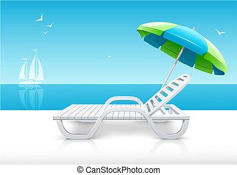 Chaise Longue de playa con paraguas en la costa del mar