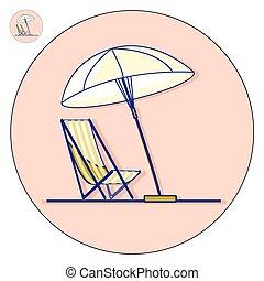 Chaise Longue de playa con vector de paraguas ilustración plana. Ícono de vacaciones
