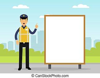 chaleco, camino amarillo, policía, seguridad, tráfico, imponer, patrulla, vector, supervisar, hombre, ocupado, carretera, caminos, ilustración