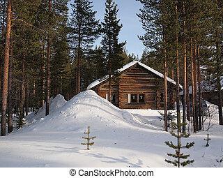 Chalet romántico de invierno