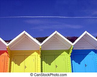 chalets, playa, colorido