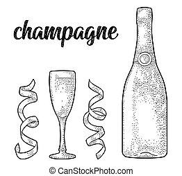 Champán caligrafía caligrafía. Cristal, botella, serpentina.