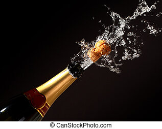 champaña, erupción, botella