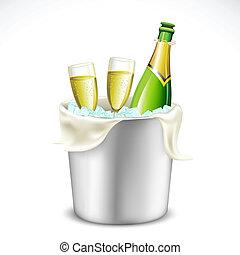 Champaña y botella en cubo
