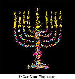 Chanukiah colorido judío, vector