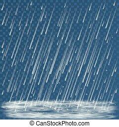 chaparrón, frío, fondo., charcos, vector, tormenta, naturaleza de clima, caer, otoño, ilustración, salpicaduras, resumen