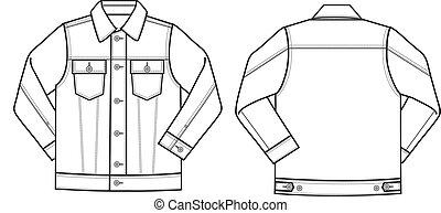 chaqueta, tela vaquera, mens