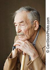 chaqueta, viejo, moustaches, hombre