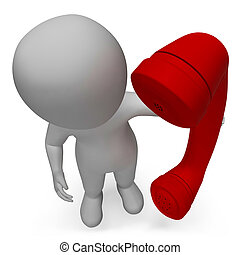 Character hablando representa llamarnos y llamar a representación en 3D