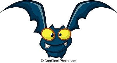 character., murciélago, vector, ilustración, divertido, caricatura