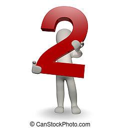 charcter, humano, dos, número, tenencia, 3d