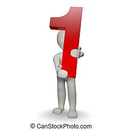 charcter, humano, numere uno, tenencia, 3d