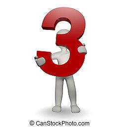 charcter, humano, tres, número, tenencia, 3d