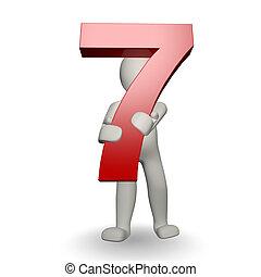 charcter, siete, tenencia, número, humano, 3d