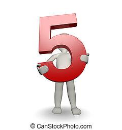 charcter, tenencia, numere cinco, humano, 3d