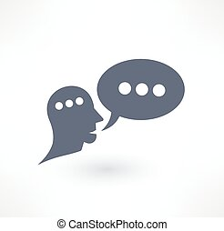 Charla, diálogo y icono de comunicación. Diseño de logo.