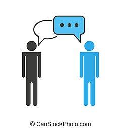 charla, equipo, icon., discusión