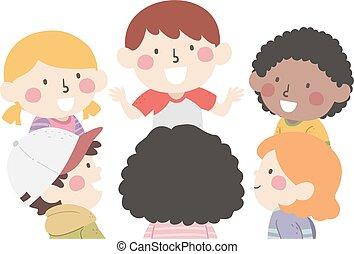 charla, niños, grupo, ilustración