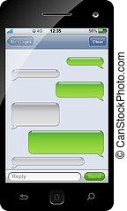 charla, plantilla, space., sms, smartphone, copia