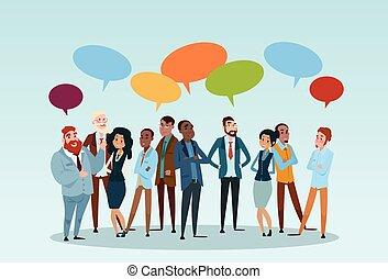 charla, red, discutir negocio, gente, comunicación, burbuja, grupo, businesspeople, social