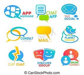 Charla, redes sociales, iconos de habla