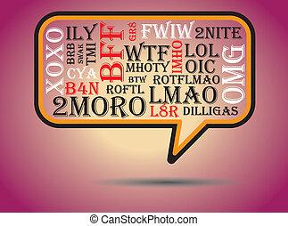 charla, tmi, btw, swak, bubble., comúnmente, wtf, utilizado, en línea, acronyms, cuanto antes, más, imho, omg, brb, abreviaciones, rotfl, afk, lmao, l8r, bff, included, fyi, lol, thx, discurso