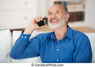 charlar, móvil, encantado, teléfono, hombre mayor