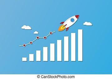chart., financiero, empresa / negocio, comienzo, mosca, crecimiento, plano de fondo, arriba, concepto, azul, éxito, cohete