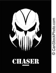 Chaser. Hunter. Calavera con garra. Máscara blanca. Phantom. Alien.
