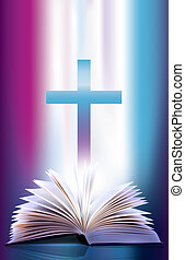 chasquear, biblia abierta, cruz