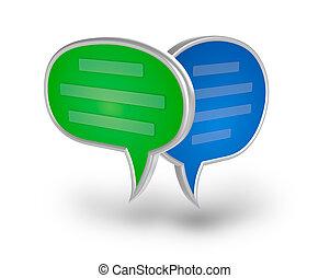 Chat Bubbles 3D icono sobre blanco