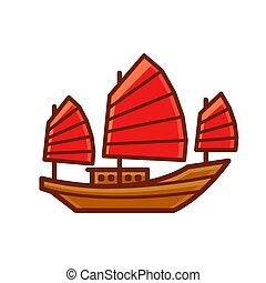 chatarra, barco, chino, icono