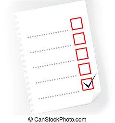 checkbox, -, bloc, arriba, ilustración, papel, cierre