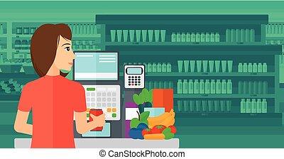 checkout., cajero, supermercado