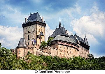 checo, karlstejn, panorámico, república, castillo, vista