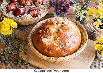 checo, pascua, pastel, cruz, tradicional, caliente, mazanec, bollo, similar