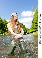 checo, río, mujer, república, pesca
