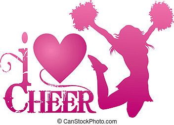 cheerlead, aclamación, saltar, amor