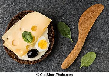cheese., emparedado, lay., abierto, vista, cima, plano