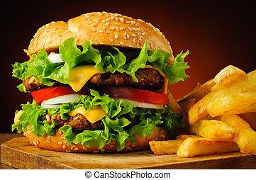 cheeseburger, fríe, francés