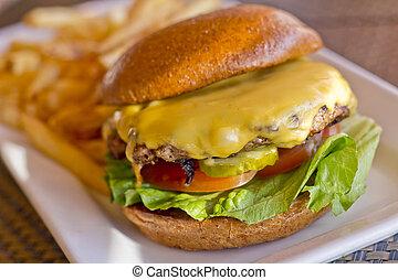 cheeseburger, fríe